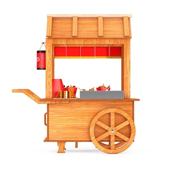 Asian wooden street food meatball noodle cart with chairs on a white background. 3d rendering