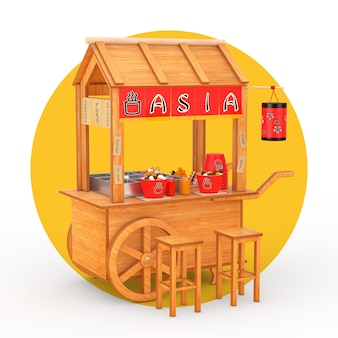 Asian wooden street food meatball noodle cart with chairs on a white and yellow background. 3d rendering