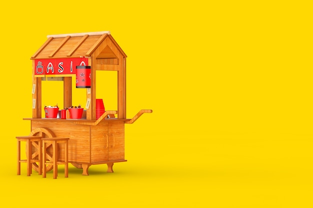 Asian wooden street food meatball noodle cart with chairs on a yellow background. 3d rendering