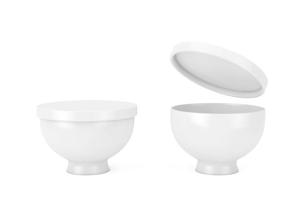 흰색 바탕에 클레이 스타일의 뚜껑이 있는 아시아 나무 흰색 음식 그릇. 3d 렌더링