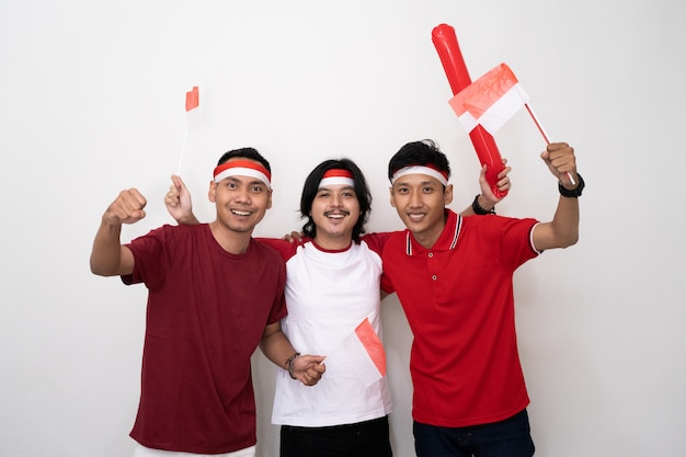Asian young male supporter of indonesia.