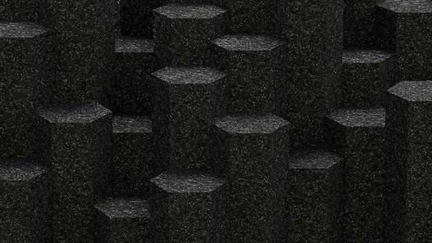 アスファルト六角形パターンの背景の背景。 3dレンダリング。