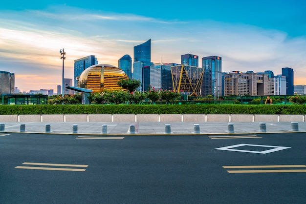 Asphalt pavement skyline and nightscape of qianjiang new town in hangzhou
