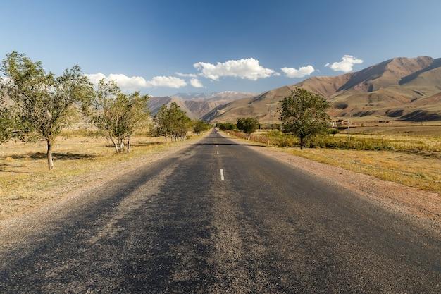 アスファルト道路、キルギスタンのブーム渓谷への入り口。