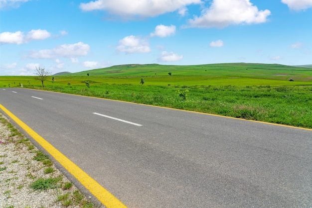 Asphalt road between green farm fields with blue sky and clouds