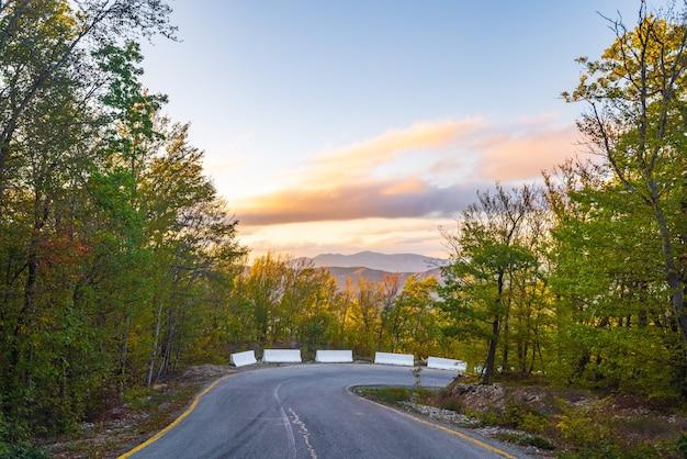 秋の山岳地帯のアスファルト道路