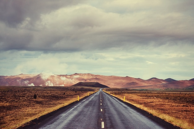 Asphalt road to the mountains iceland