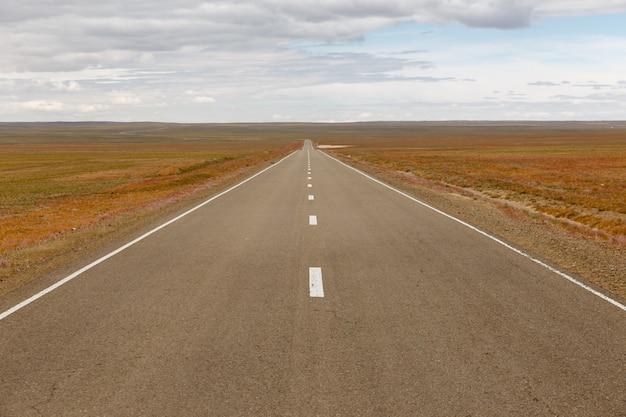 Asphalt road sainshand zamiin-uud in mongolia