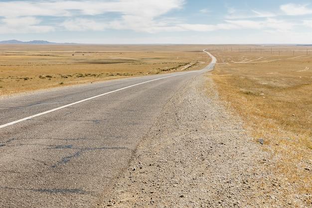 Asphalt road sayshand-choir in mongolia