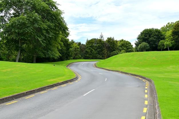 Асфальтированная дорога в окружении ярко-зеленых холмов и деревьев в дневное время