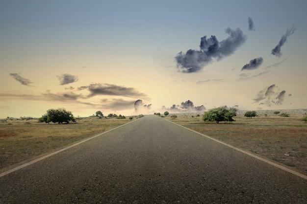 緑の草と劇的な空のアスファルト道路