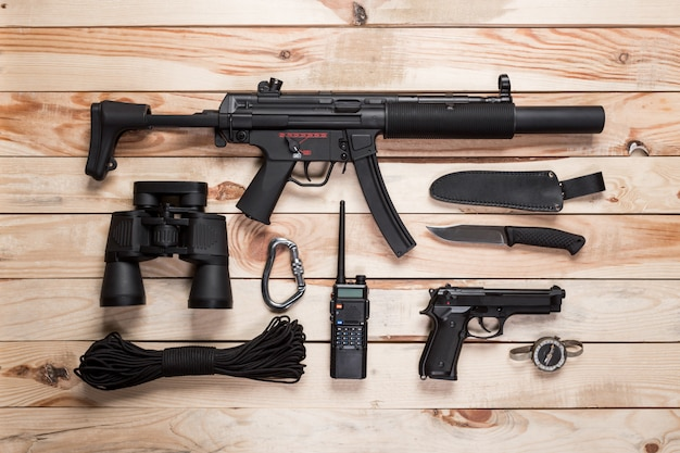 Assault rifle, gun, knife and other weapons