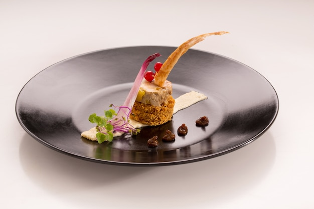 Assiette gourmet with foie gras on gingerbread