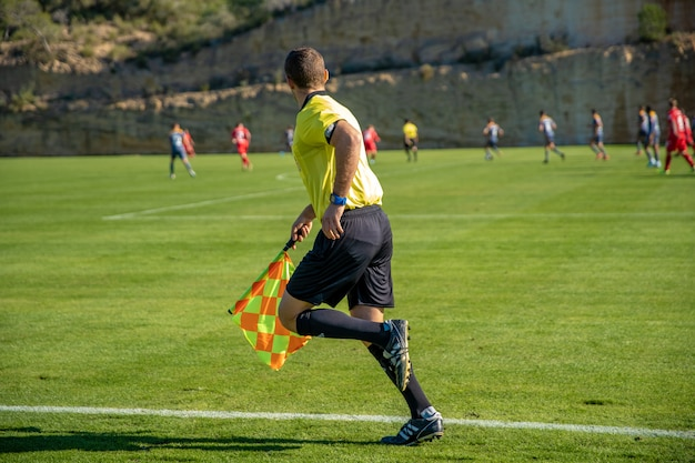 Assistant referee in a football match watching the game