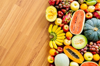 Assorted and mixed fruits