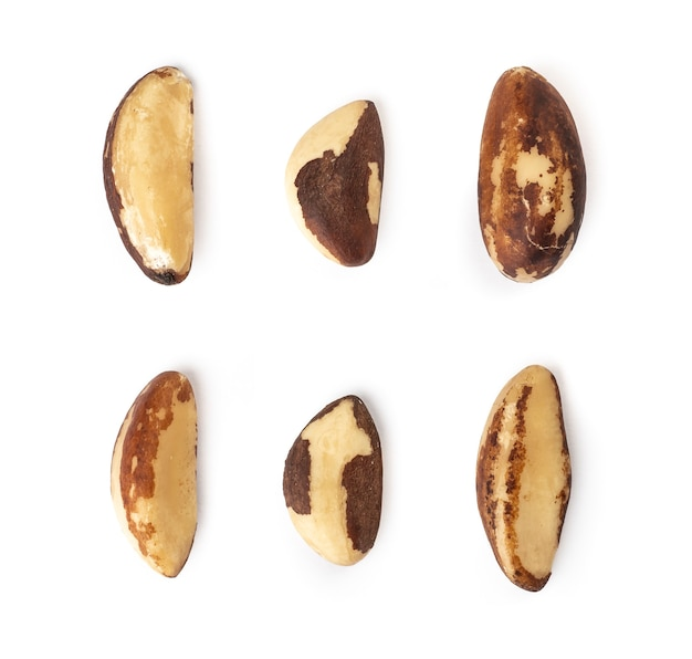 Assorted brazil nuts isolated.