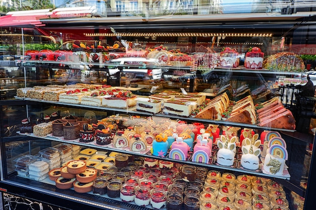 Assorted cakes in a shopwindow
