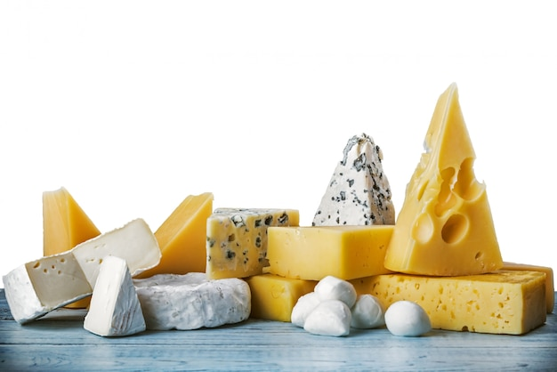 Assorted cheeses, soft, hard, rennet and brine