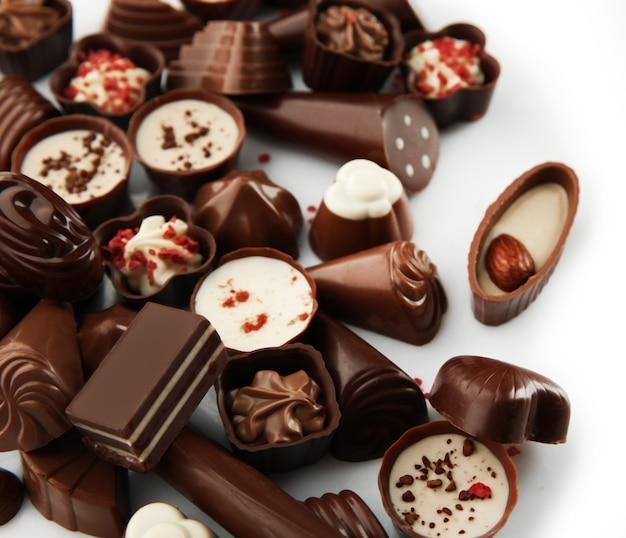 チョコレート菓子の盛り合わせ、クローズアップ