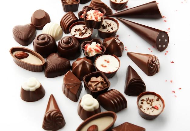 모듬된 초콜릿 사탕, 클로즈업