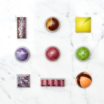 Assorted collection of chocolate candies and sweets, isolated