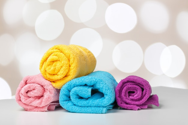 Assorted colored towels