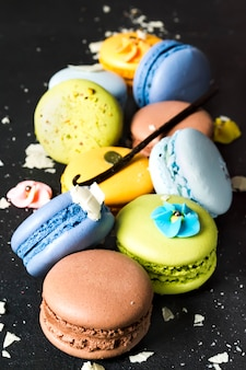 Assorted colorful french cookies macaroons