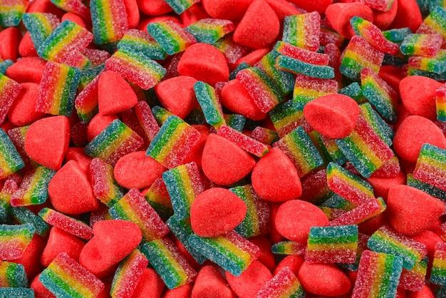 모듬된 다채로운 젤리 사탕. 평면도. 젤리 과자.