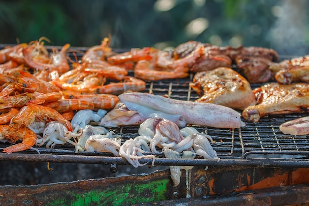 Assorted delicious grilled meat