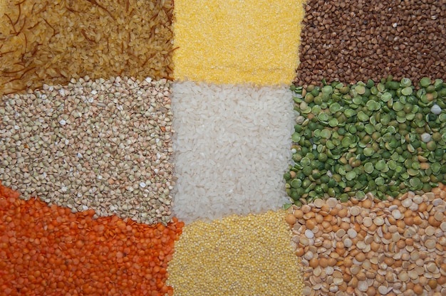 Assorted different cereals on the surface