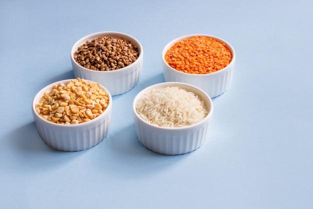 Assorted different cereals.