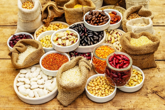 Assorted different types of beans and cereals grains