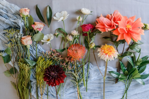 Assorted flowers prepaired for bouqet