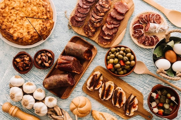 Assorted food on patterned tabletop