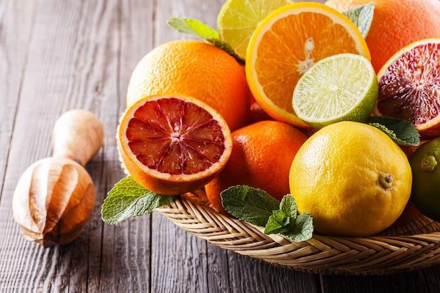 Assorted fresh citrus fruits, selective focus.