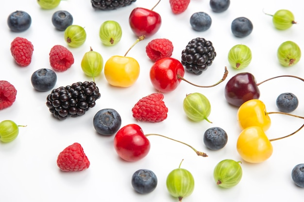 Assorted fresh different berries isolated