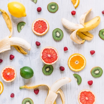 Assorted fruits on wooden tabletop
