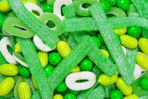 Assorted green gummy candies assortment