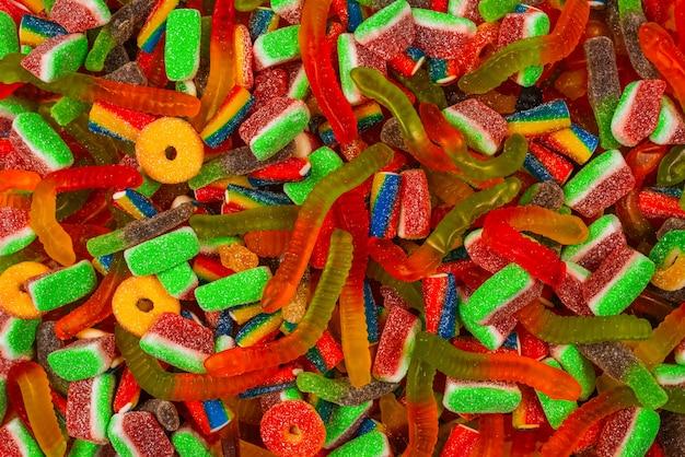 各種グミキャンディ背景。上面図。