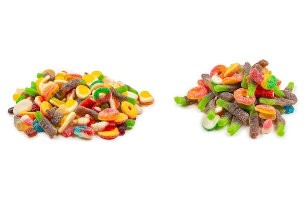 Assorted gummy candies jelly  sweets. isolated on white.