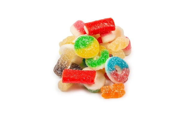 Assorted gummy candies. top view. jelly  sweets. isolated on white.