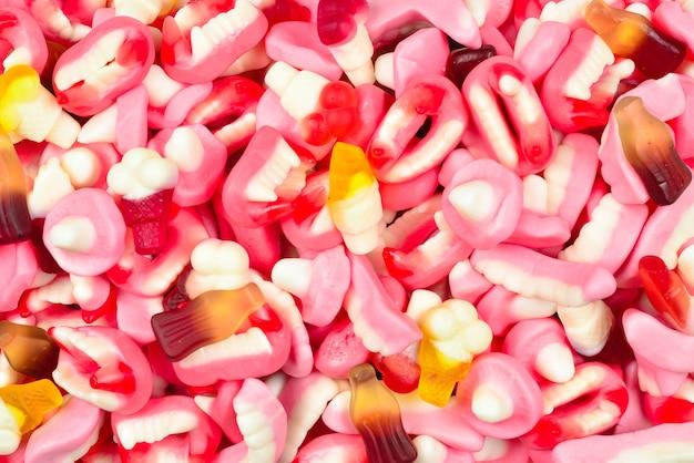 グミキャンディーの盛り合わせ。上面図。ゼリー菓子。