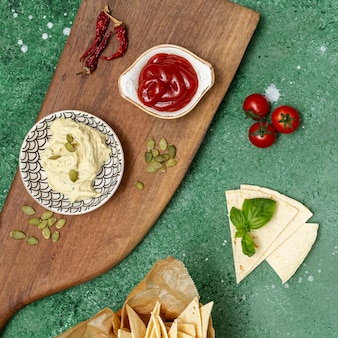 Assorted homemade dips for tortilla