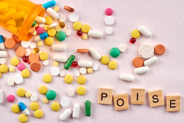 Assorted medicine pills tablets and capsules.