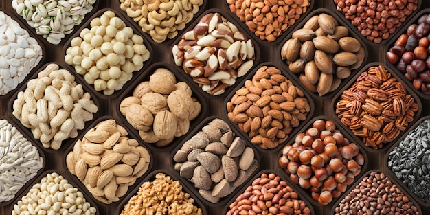Assorted nuts background, large mix seeds. raw food products: pecan, hazelnuts, walnuts, pistachios, almonds, macadamia, cashew, peanut and other