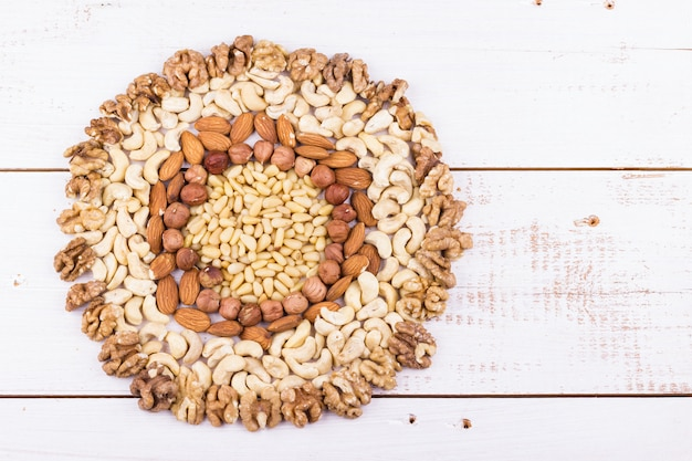 Assorted nuts in the form of circle