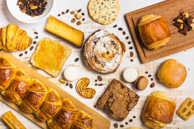 Assorted pastry near raisins and nuts