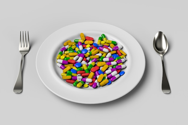 Assorted pharmaceutical medicine pills and tablets spoon. 3d rendering illustration