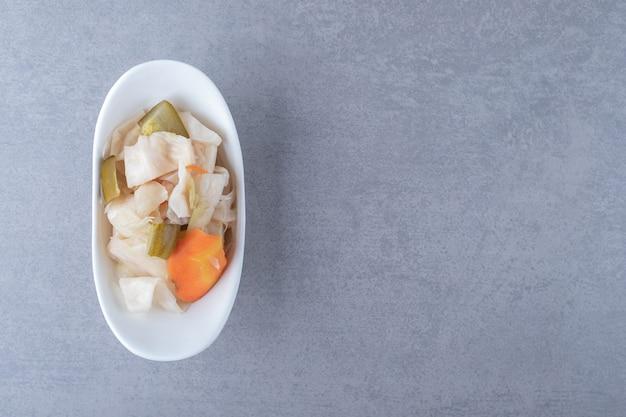 Assorted pickled vegetables in bowl