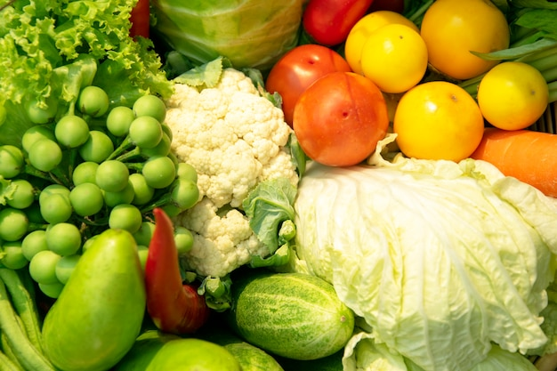 Assorted raw vegetables background